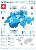 Switzerland - map and flag - infographic illustration