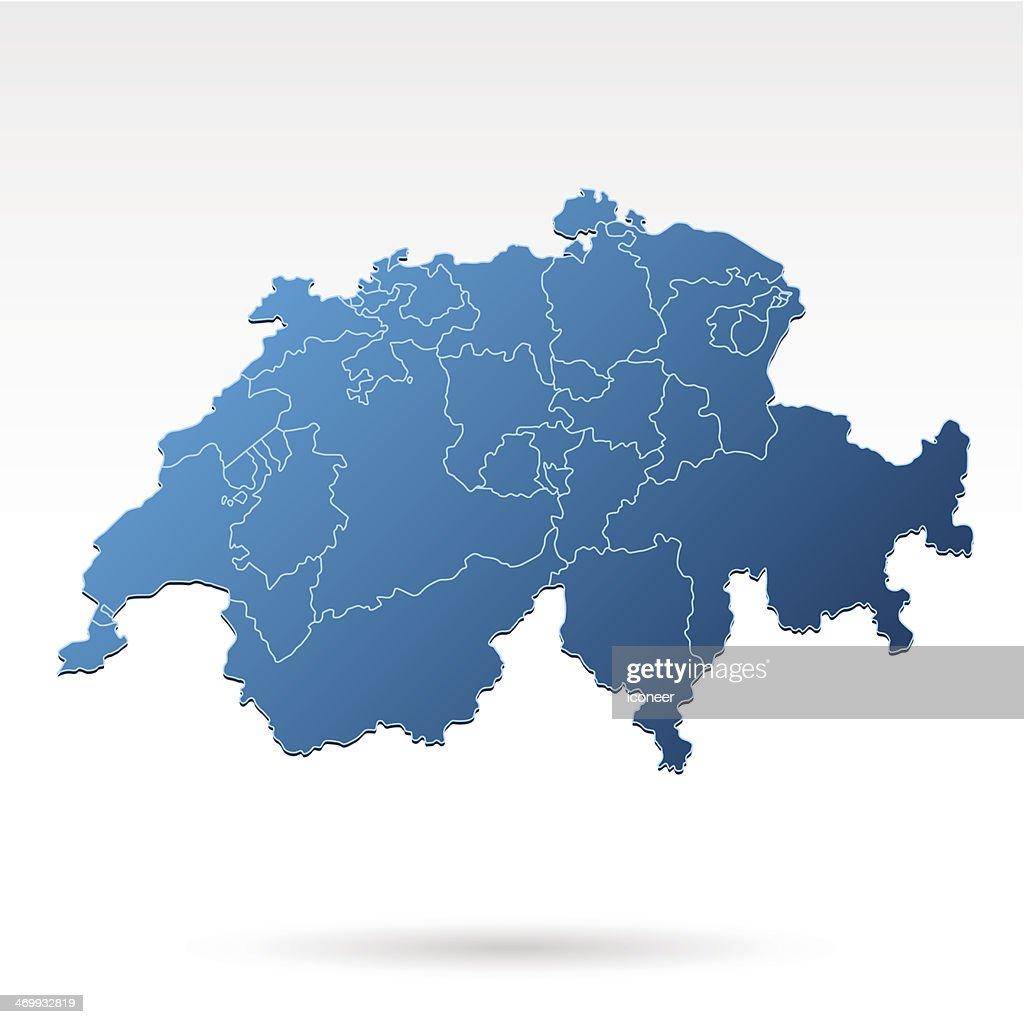 Switzerland map blue