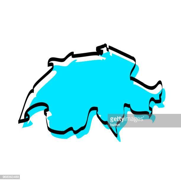 schweiz karte hand gezeichnet auf weißem hintergrund, trendiges design - konturzeichnung stock-grafiken, -clipart, -cartoons und -symbole