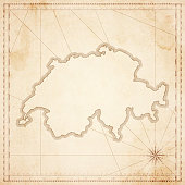 Switzerland map in retro vintage style - old textured paper