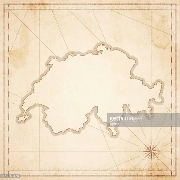 Schweiz-Karte im Retro-Vintage-Stil - strukturierte Altpapier