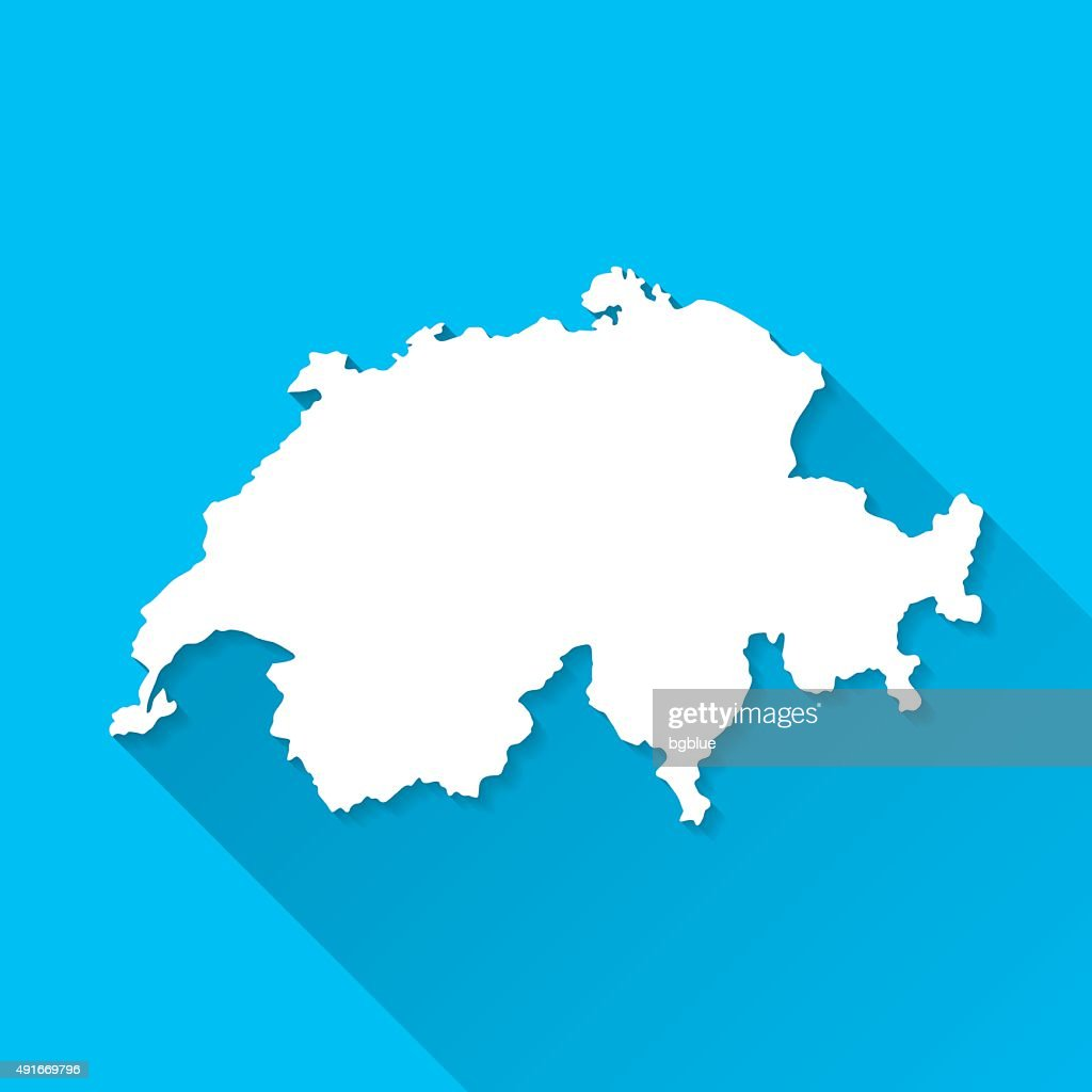 Switzerland Map on Blue Background, Long Shadow, Flat Design