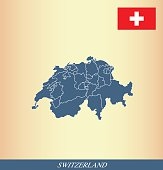Switzerland map outline vector and Switzerland flag vector outline