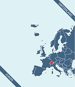 Switzerland map outline vector highlighted in Europe map