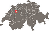 Switzerland map vector outline illustration with provinces or states borders and capital location, Bern, in gray background. Highly detailed accurate map of Switzerland prepared by a map expert