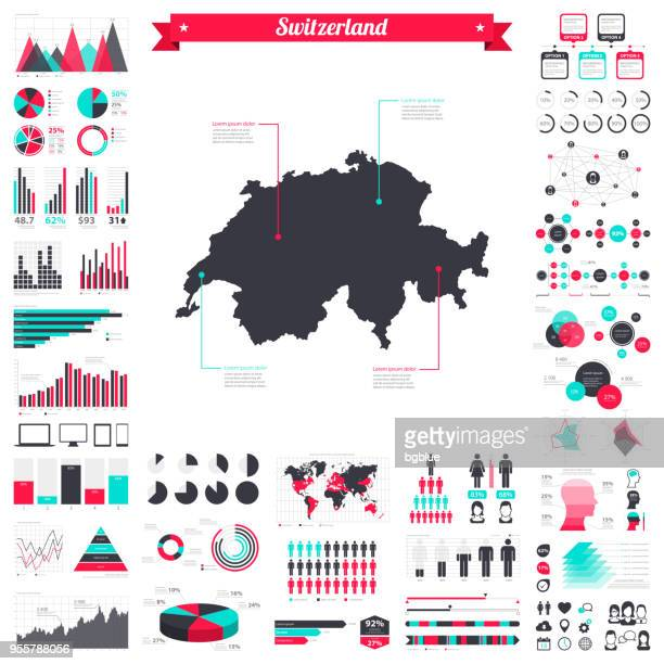 switzerland map with infographic elements - big creative graphic set - diagram stock illustrations