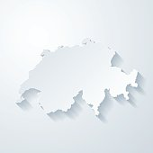 Switzerland map with paper cut effect on blank background