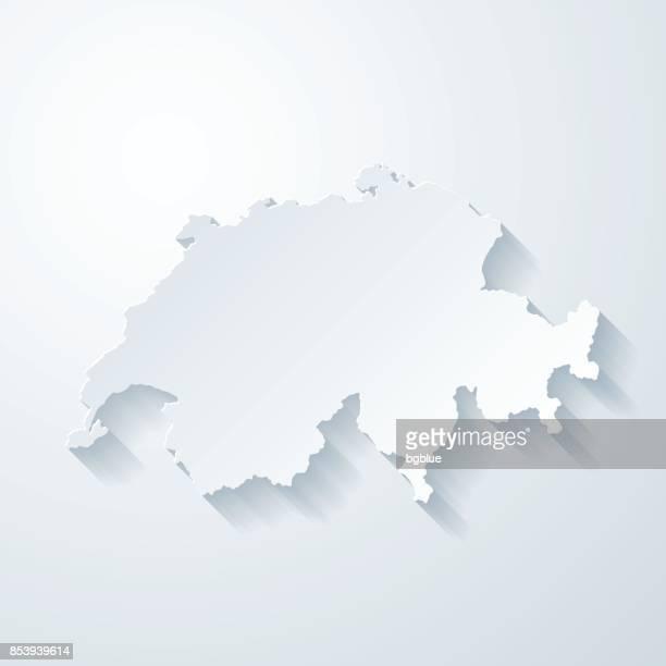 Schweiz-Karte mit Papier geschnitten Wirkung auf leeren Hintergrund