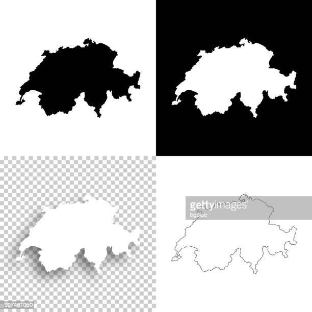 switzerland maps for design - blank, white and black backgrounds - switzerland stock illustrations