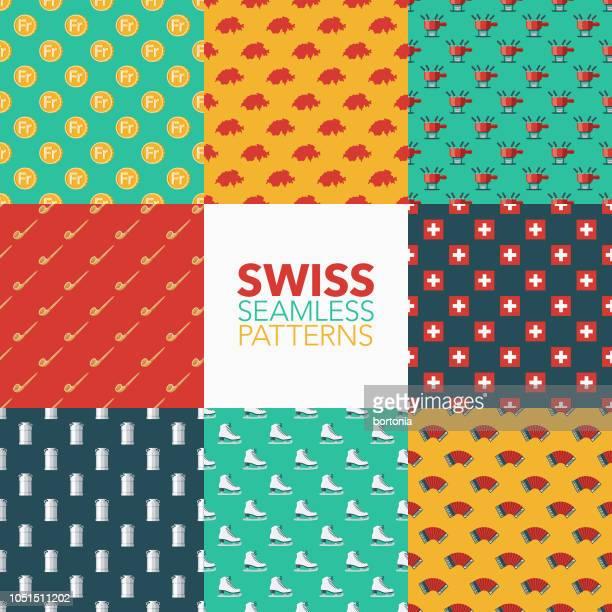 switzerland seamless pattern set - franc sign stock illustrations, clip art, cartoons, & icons