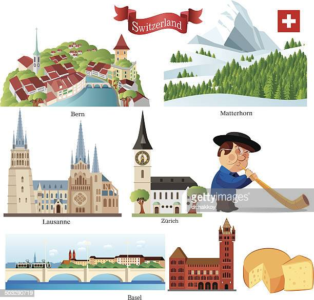 switzerland symbols - basel switzerland stock illustrations