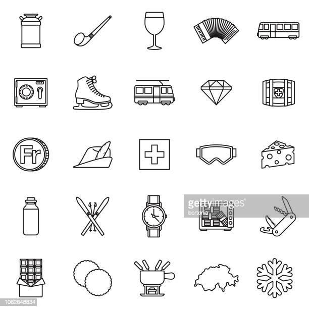 switzerland thin line outline icon set - franc sign stock illustrations, clip art, cartoons, & icons