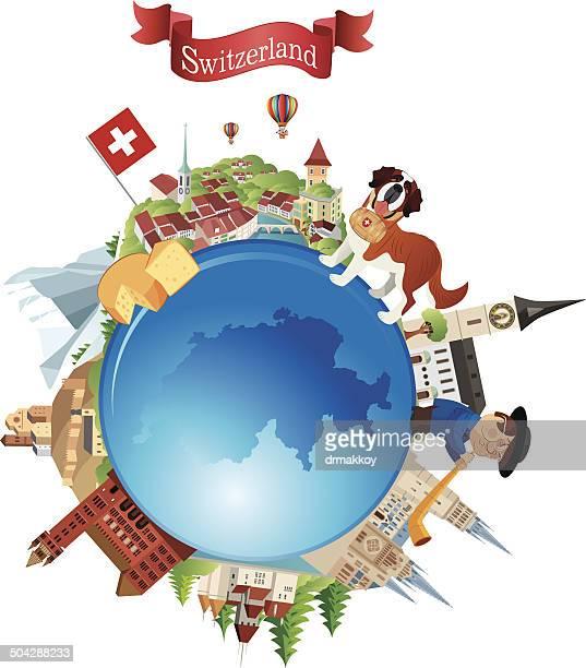 switzerland travel symbols - swiss culture stock illustrations