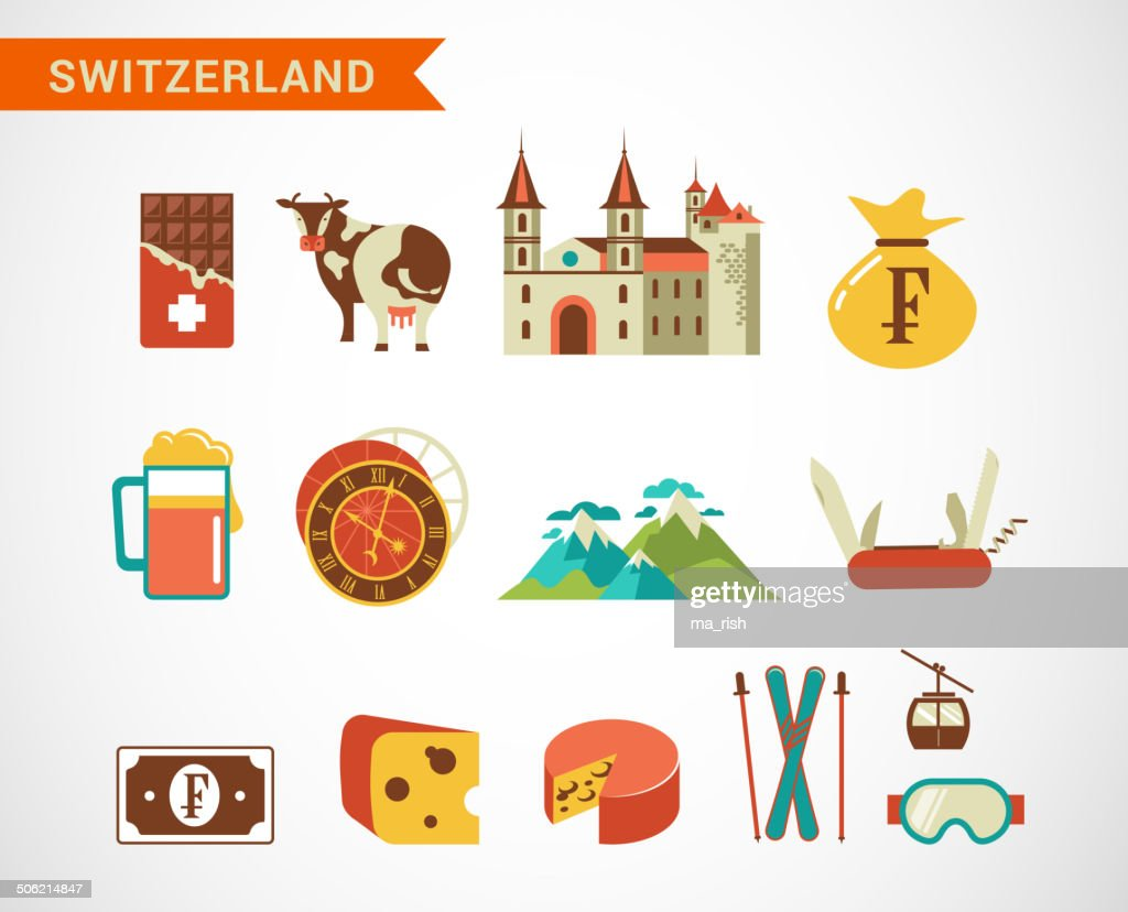Switzerland -  vector icons set