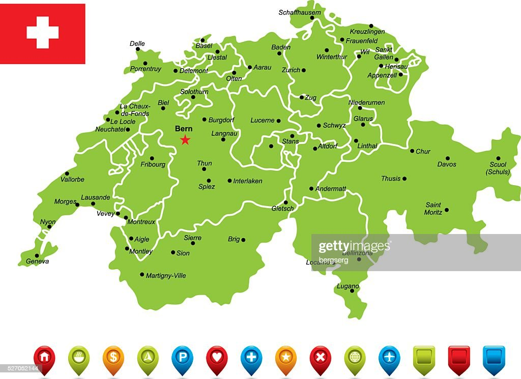 Switzerland Vector Map Vector Art Getty Images