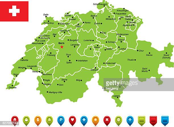 switzerland vector map - sion switzerland stock illustrations