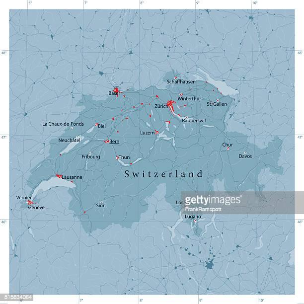 switzerland vector road map - switzerland stock illustrations