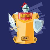 Sword and paper with ok or start button. knight and fairy tales concept - vector