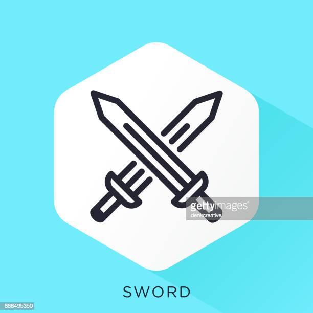 ilustrações, clipart, desenhos animados e ícones de ícone de espadas - combat sport