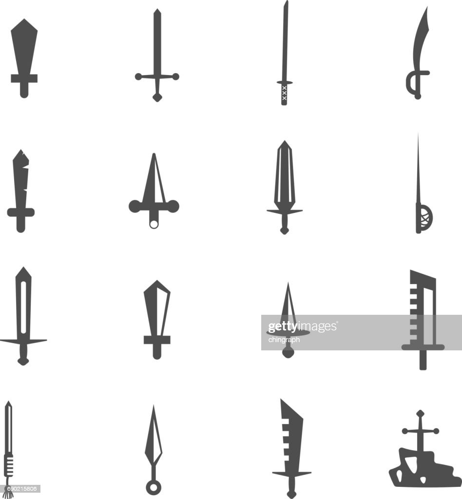 sword knife dagger icon set vector