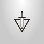 sword logo cutting into a triangle. abstract icon