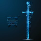 sword low poly blue