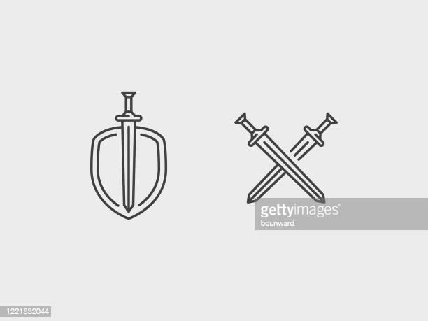 sword & shield outline icon logo - sword stock illustrations