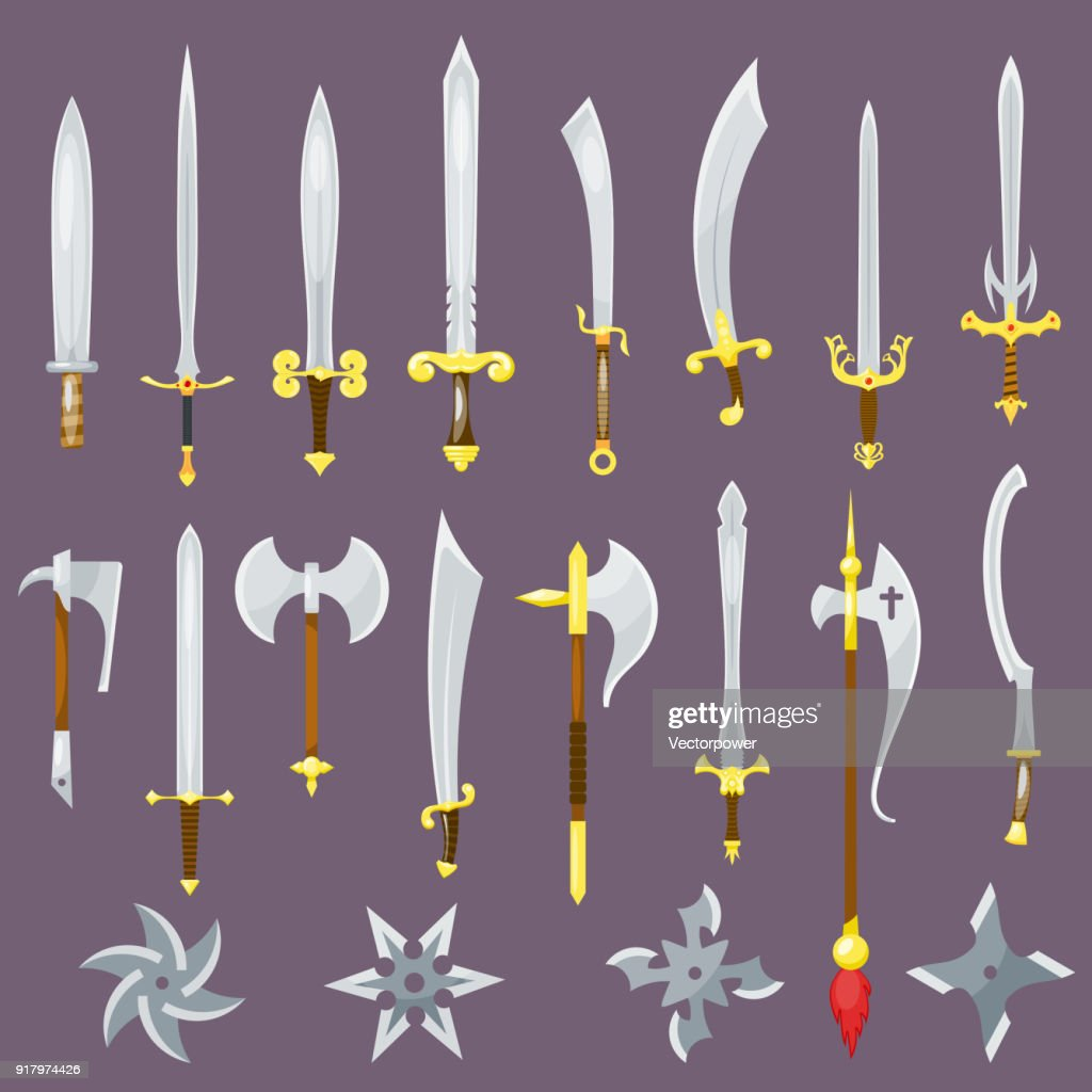 Sword vector medieval weapon of knight with sharp blade and pirates knife illustration broadsword set isolated on background