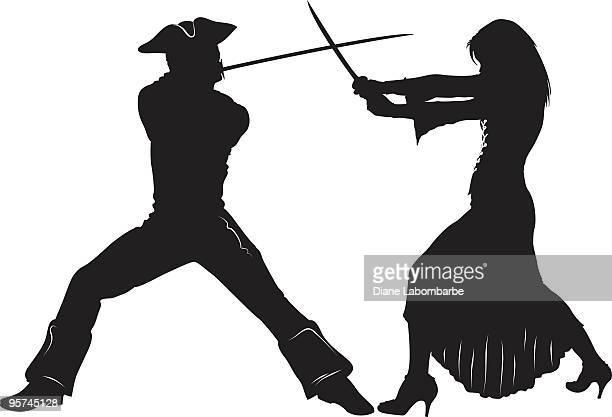 ilustrações de stock, clip art, desenhos animados e ícones de swordfight - luta de espadas