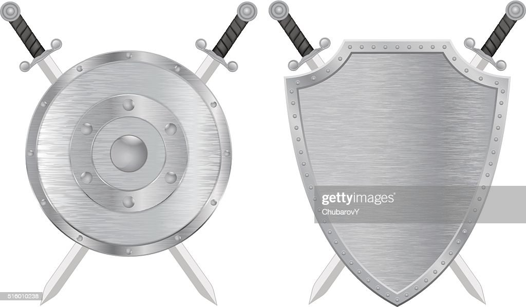 Swords and shield. Metal brushed medieval shield