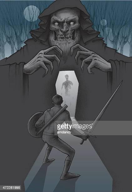 swords mann und assistent, rache der casket mond. cover - wizard stock-grafiken, -clipart, -cartoons und -symbole