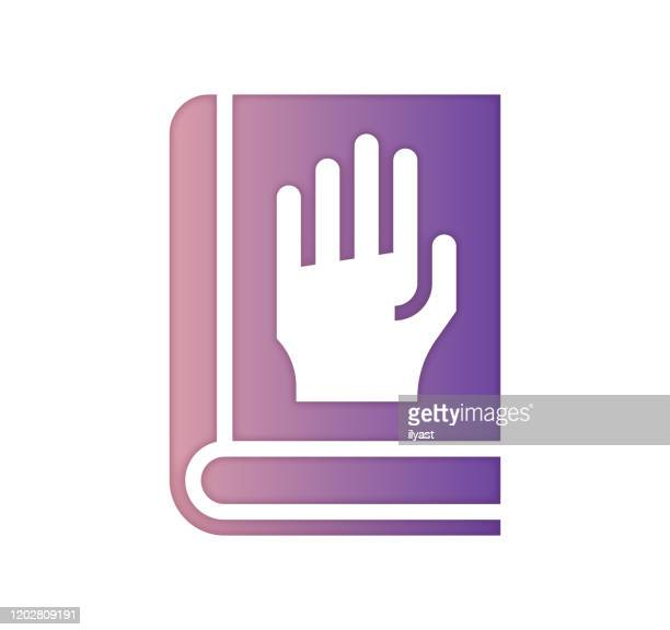 sworn testimony gradient color & papercut style icon design - criação digital stock illustrations