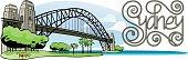 Sydney Harbor bridge with lettering