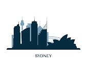 Sydney skyline, monochrome silhouette. Vector illustration.
