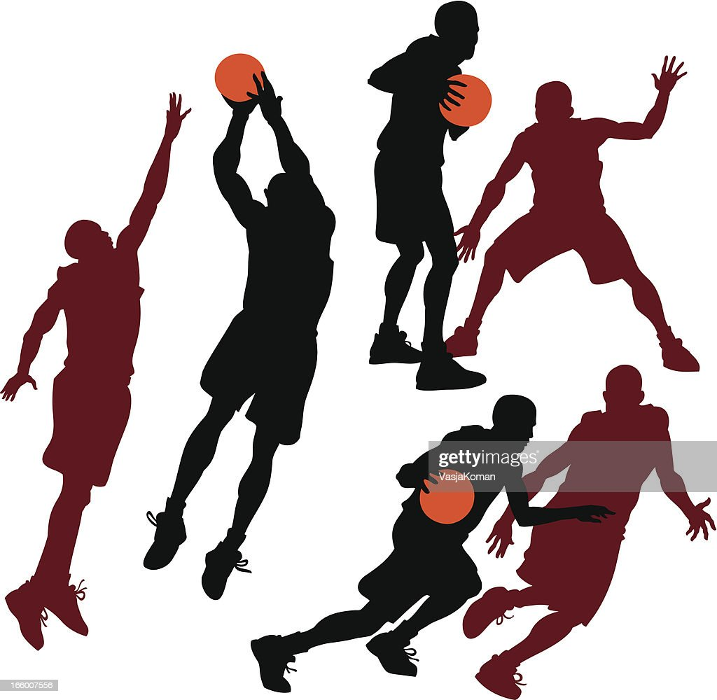 Sylhouettes of Basketball Players in Action