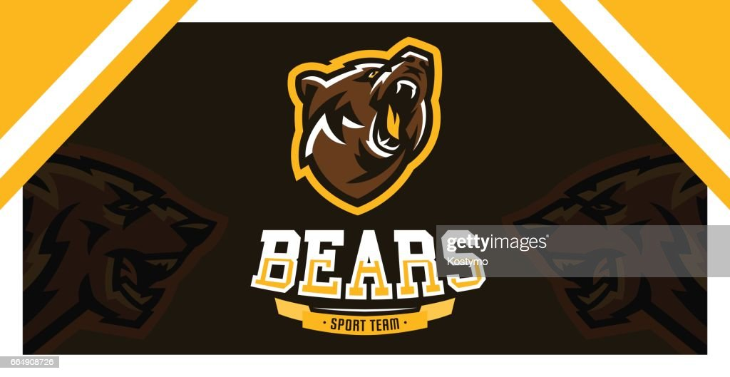 symbol, identity, the font for the sports club, community, company, angry and growling, bear ready to attack. Vector illustration, dynamic execution