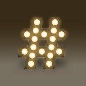 Symbol Incandescent light bulb box set Hashtag sign, illustration retro 3D style isolated glow in dark background