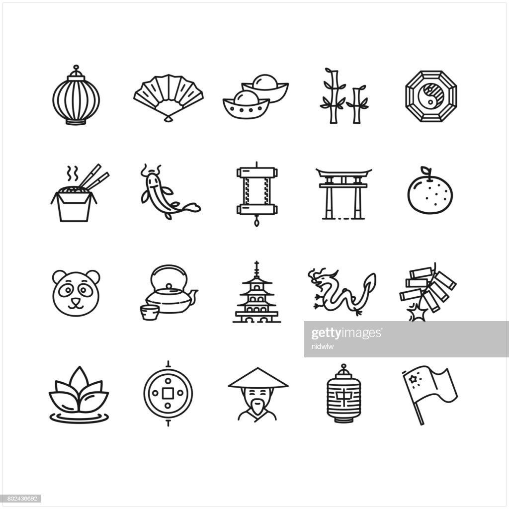 Symbol of China Black Thin Line Icon Set. Vector
