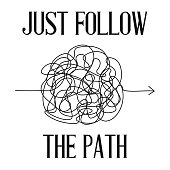 Symbol of complicated way, chaos, follow the path