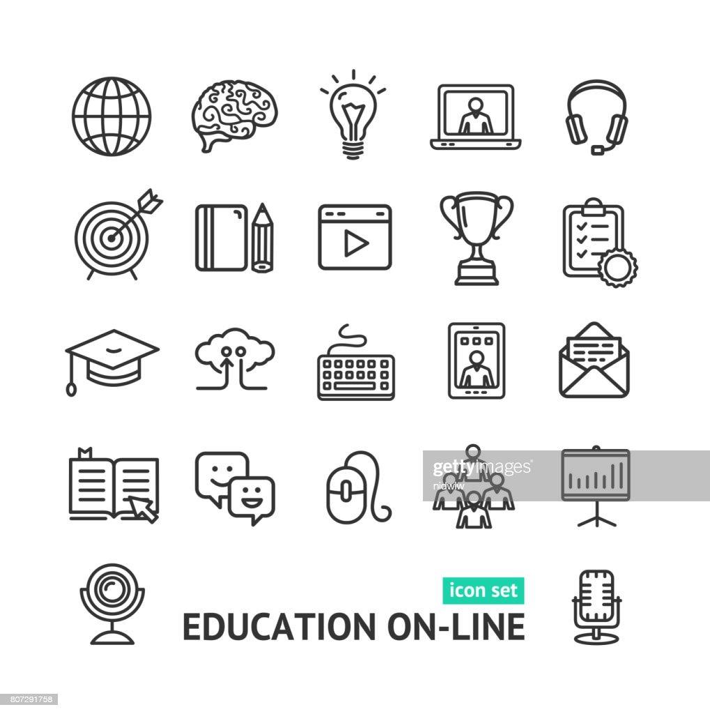 Symbol of Education Online Black Thin Line Icon Set. Vector