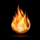 Symbol of fire burning on a black background