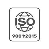 Symbol of ISO 9001 2015 certified. Vector Illustration. EPS 10.