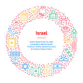 Symbol of Israel Thin Line Banner Card Circle. Vector