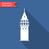 Symbol of Istanbul and Turkey. Galata Tower vector flat icon with long shadow