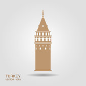 Symbol of Istanbul and Turkey. Galata Tower vector flat icon with shadow