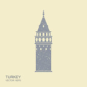 Symbol of Istanbul and Turkey. Galata Tower vector flat icon with scuffed effect