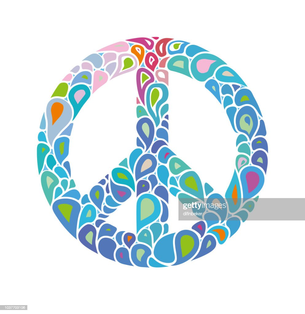 Symbol of peace. Peace sign consists of bright bubbles drops. International Day of Peace.