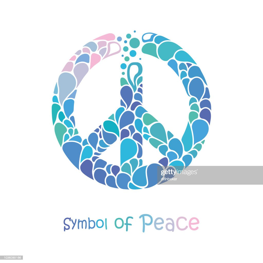 Symbol of peace. Peace sign drawing consists of bright drops.