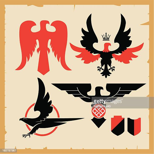 symbol of soaring eagle - falcon bird stock illustrations, clip art, cartoons, & icons