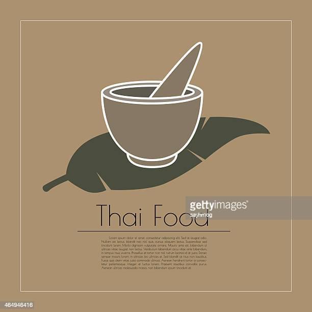 ilustrações de stock, clip art, desenhos animados e ícones de símbolo de comida tailandesa estilo - folha de bananeira